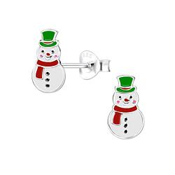 Wholesale Sterling Silver Snowman Ear Studs - JD8447