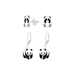 Wholesale Sterling Silver Panda Earrings Set - JD8390