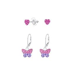 Wholesale Sterling Silver Heart and Butterfly Earrings Set - JD8394