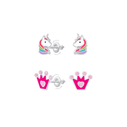 Wholesale Sterling Silver Unicorn and Crown Screw Back Ear Studs Set - JD8387