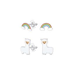 Wholesale Sterling Silver Rainbow and Alpaca Screw Back Ear Studs Set - JD8388