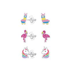 Wholesale Sterling Silver Alpaca Flamingo and Unicorn Screw Back Ear Studs Set - JD8403