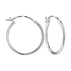 Wholesale 20mm Sterling Silver French Lock Ear Hoops - JD8351