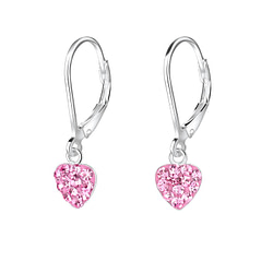 Wholesale Sterling Silver Heart Crystal Lever Back Earrings - JD7967