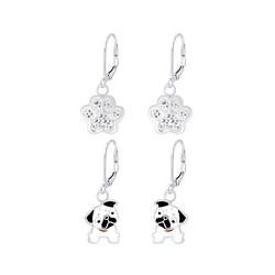 Wholesale Sterling Silver Dog Lovers Lever Back Earrings Set - JD8381