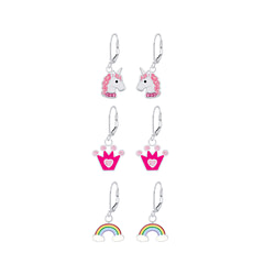 Wholesale Sterling Silver Colorful Lever Back Earrings Set - JD8396