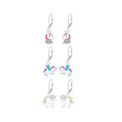 Wholesale Sterling Silver Unicorn Lovers Lever Back Earrings Set - JD8398