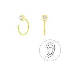 Wholesale Sterling Silver Crystal Ear Huggers - JD8479