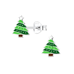 Wholesale Sterling Silver Christmas Tree Ear Studs - JD8451