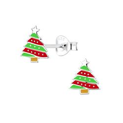 Wholesale Sterling Silver Christmas Tree Ear Studs - JD8450