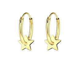Wholesale Sterling Silver Star Ear Hoops - JD8655