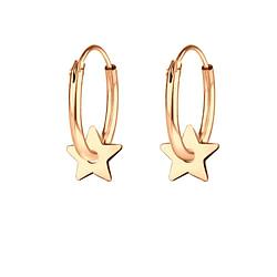 Wholesale Sterling Silver Star Ear Hoops - JD8801