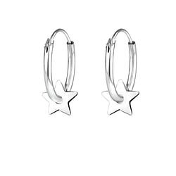 Wholesale Sterling Silver Star Ear Hoops - JD8654