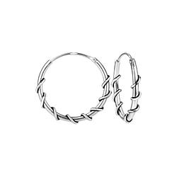 Wholesale 16mm Sterling Silver Bali Hoops - JD8703