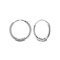 Wholesale 14mm Sterling Silver Bali Hoops - JD8699