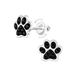 Wholesale Sterling Silver Paw Print Crystal Screw Back Ear Studs - JD6233