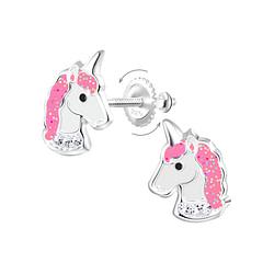 Wholesale Sterling Silver Unicorn Screw Back Ear Studs - JD8915