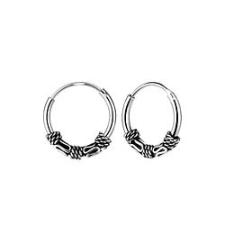 Wholesale 12mm Sterling Silver Bali Ear Hoops - JD9146