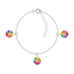 Wholesale Sterling Silver Daisy Flower Bracelet - JD7540