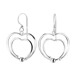 Wholesale Sterling Silver Double Heart Earrings - JD8530