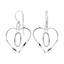 Wholesale Sterling Silver Twisted Heart Earrings - JD8528