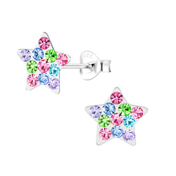 Wholesale Sterling Silver Crystal Star Ear Studs - JD5465
