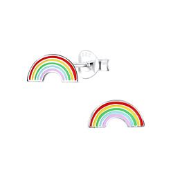 Wholesale Sterling Silver Rainbow Ear Studs - JD8781