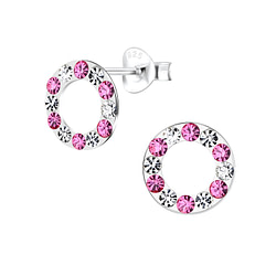 Wholesale Sterling Silver Crystal Circle Ear Studs - JD5764