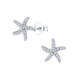 Wholesale Sterling Silver Starfish Ear Studs - JD8575