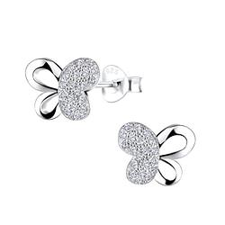 Wholesale Sterling Silver Butterfly Ear Studs - JD8722