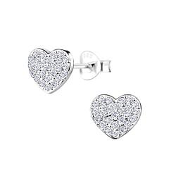 Wholesale Sterling Silver Heart Ear Studs - JD8929