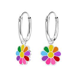 Wholesale Sterling Silver Daisy Flower Charm Ear Hoops - JD8780