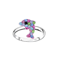 Wholesale Sterling Silver Dolphin Adjustable Ring - JD8369