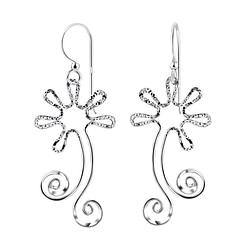 Wholesale Sterling Silver Flower Earrings - JD8535