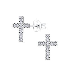 Wholesale Sterling Silver Cross Cubic Zirconia Stud Earring - JD5138