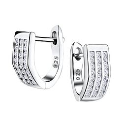 Wholesale Sterling Silver Bar Huggie Earrings - JD4855