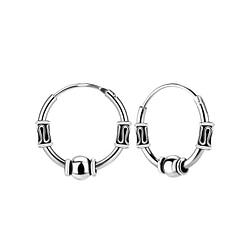 Wholesale 14mm Sterling Silver Bali Ear Hoops - JD8993