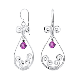 Wholesale Sterling Silver Spiral Earrings with Glass Bead - JD7110