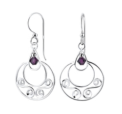 Wholesale Sterling Silver Spiral Earrings with Glass Bead - JD7112