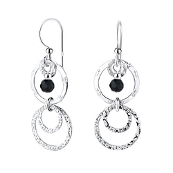 Wholesale Sterling Silver Circle Earrings with Glass Bead - JD7123