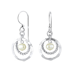 Wholesale Sterling Silver Circle Earrings with Fresh Water Pearl - JD7124