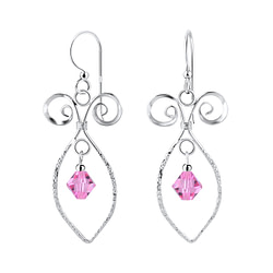 Wholesale Sterling Silver Spiral Earrings with Glass Bead - JD8551