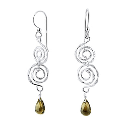 Wholesale Sterling Silver Spiral Earrings with Glass Bead - JD8552