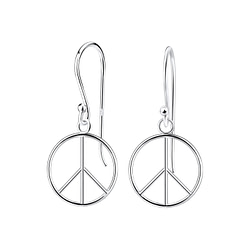 Wholesale Sterling Silver Peace Sign Earrings - JD9145