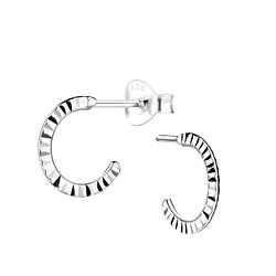 Wholesale Sterling Silver Half Hoop Ear Studs with Diamond Cut - JD9085