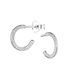 Wholesale Sterling Silver Half Hoop Ear Studs with Diamond Dust - JD9083