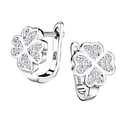 Wholesale Sterling Silver Lucky Clover Huggie Earrings - JD4851