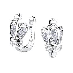 Wholesale Sterling Silver Crown Huggie Earrings - JD4852