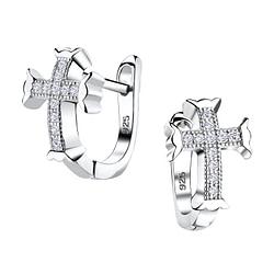 Wholesale Sterling Silver Cross Huggie Earrings - JD4853