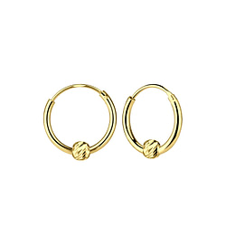 Wholesale Sliver Diamond Cut Ball Ear Hoops - JD6850